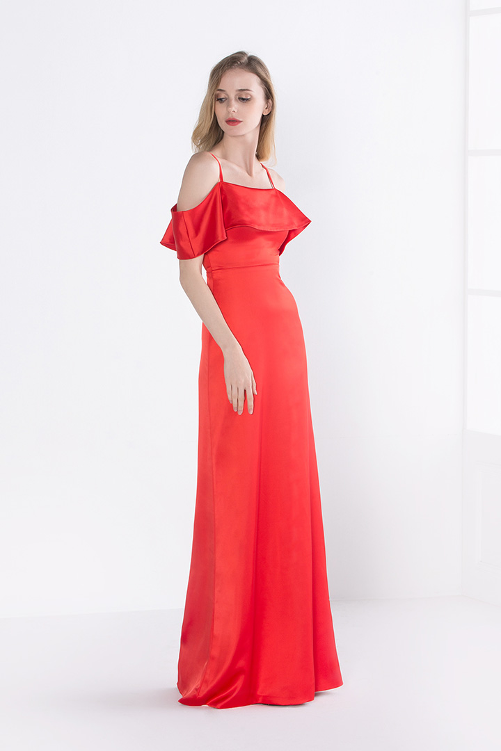 Red Casual Satin Long Spaghetti Straps Bridesamid Dress