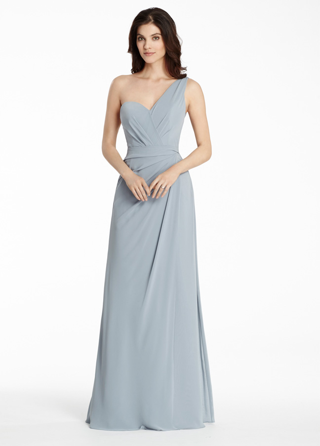 One Shoulder Sweetheart A-line Long Chiffon Bridesmaid Dress