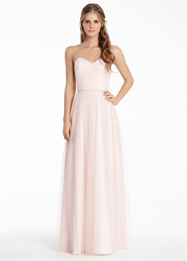 Pink Spaghetti Strap Long Tulle Bridesmaid Dress