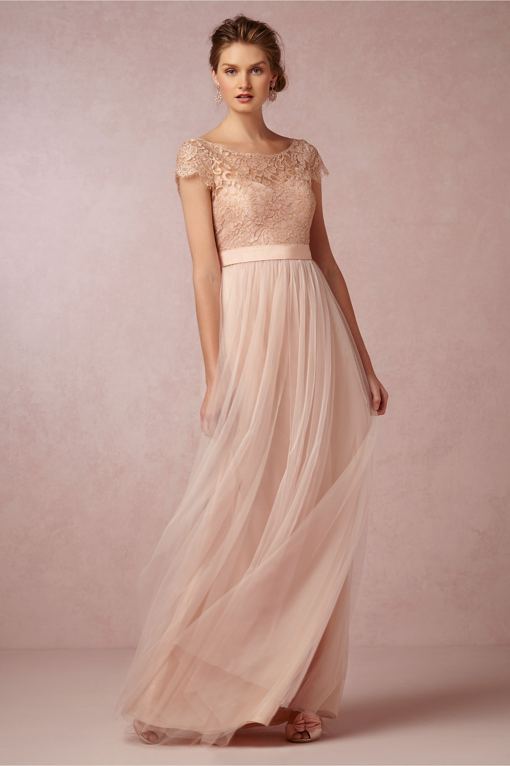 Vintage  Bateau Neck Illusion Cap Sleeved Lace Blush Tulle Bridesmaid Dress _1
