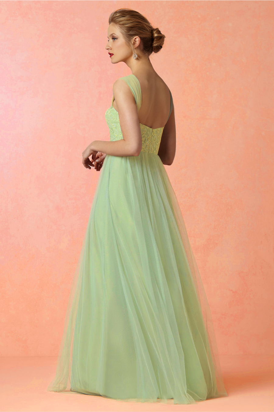 Shoulder Strap Lace Bodice Long Sage Tulle  Bridesmaid Dress _1