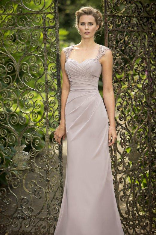 Shoulder Straps Beaded Lace Appliqued Long Pale Pink Chiffon Bridesmaid Dress _2