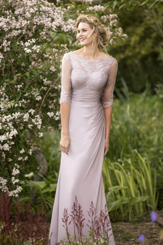 3/4 Sleeved Illusion Neck Sheath Pale Lilac Purple Long Chiffon Bridesmaid Dress _1