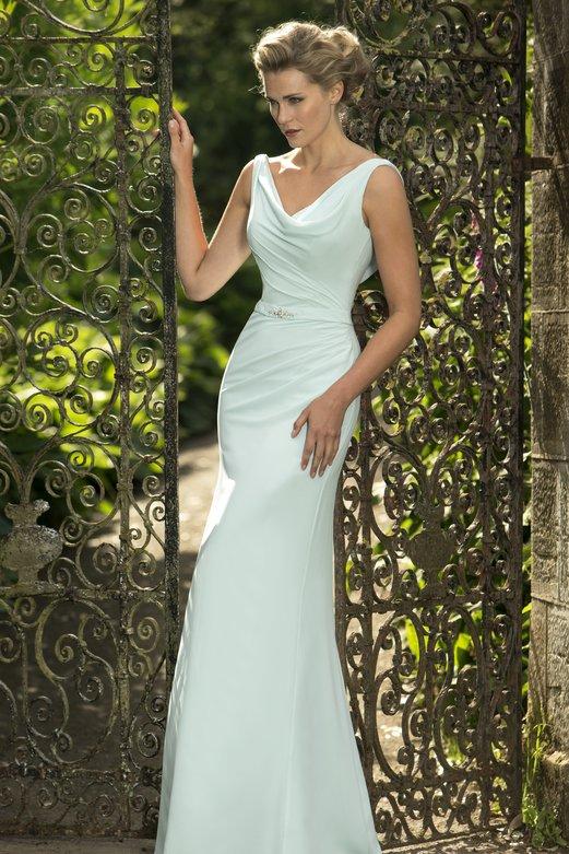 Cowl Neck Sheath Long Chiffon Mint Blue LOng Bridesmaid Dress with Crystal Ribbon _1