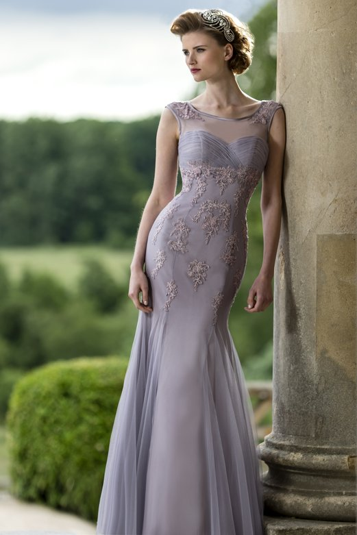 Trumpet/Mermaid Illusion Bateau Neck Lilac Purple Tulle Bridesmaid Dress with Lace