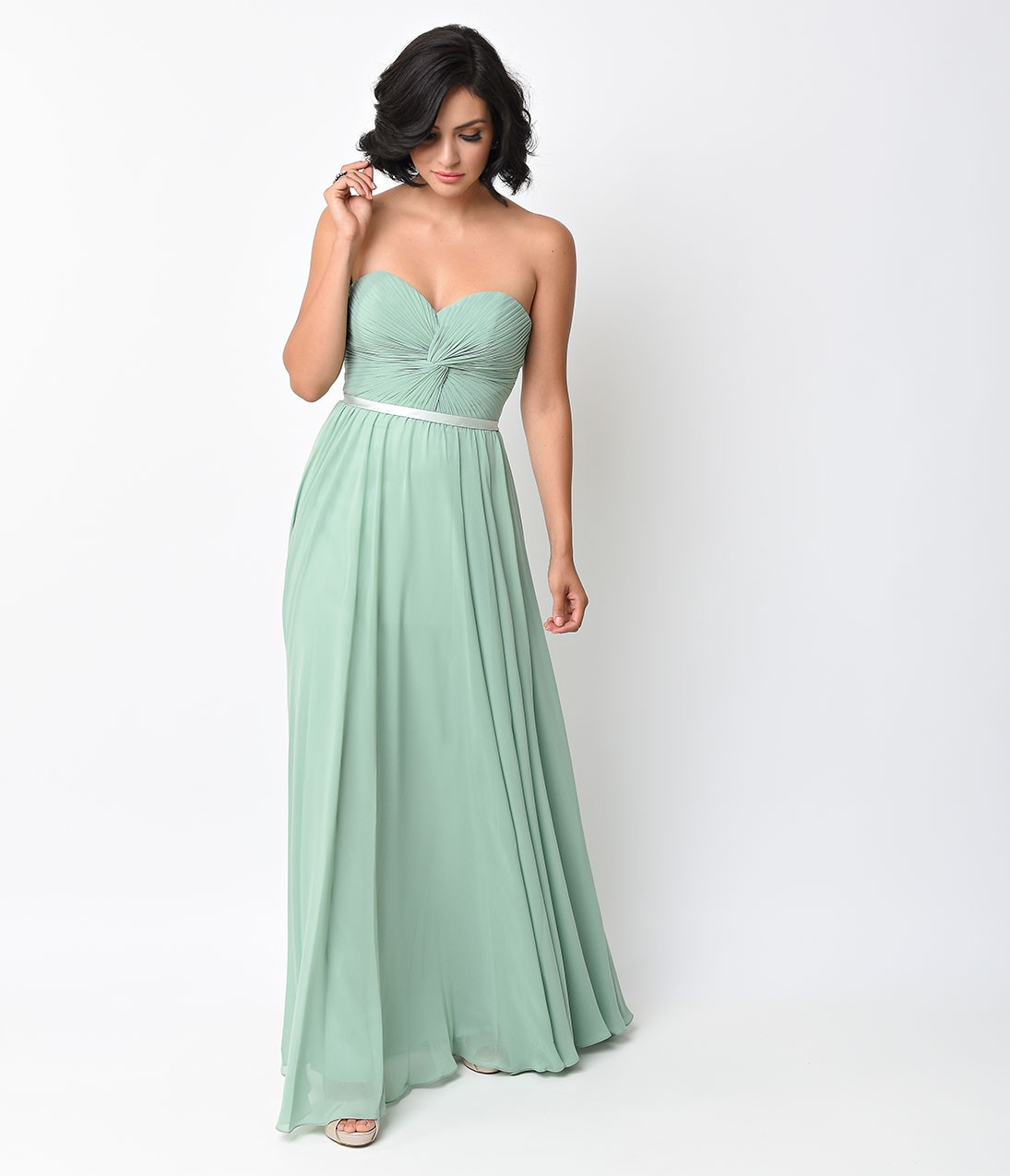 Front Pleated Knotted Long Mint Green Chiffon Bridesmaid Dress With Ribbon