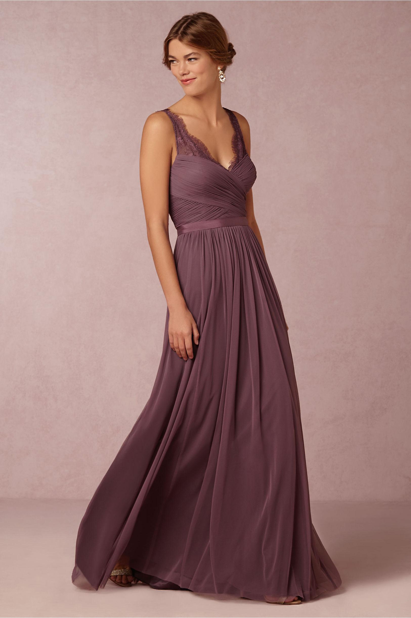 Vintage Lace Straps Pleated Long Chiffon Eggplant Bridesmaid Dress _2