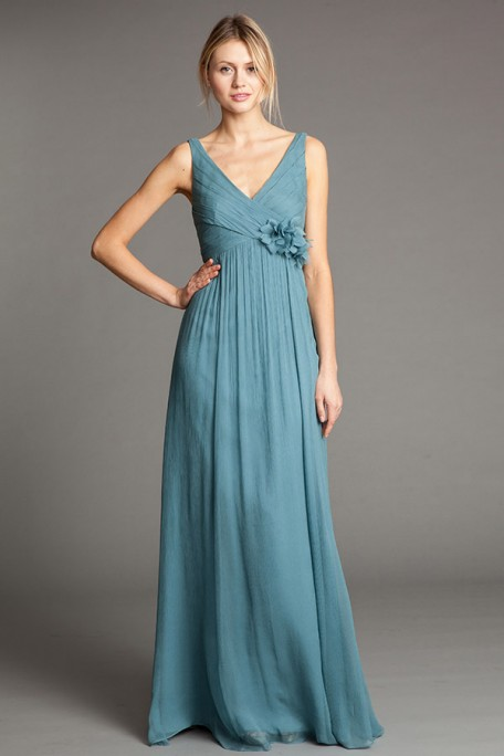 Shoulder Straps Empire Blue Long Chiffon Bridesmaid Dress with Flower