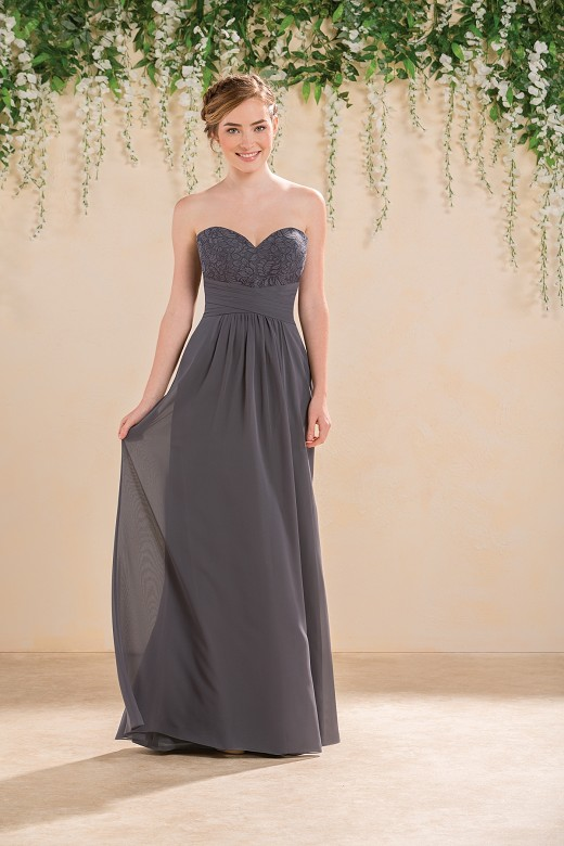 Strapless Sweetheart Pleated A-line Grey Long Chiffon Bridesmaid Dress _1