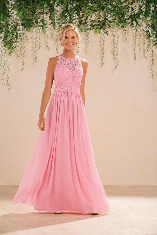 Sleeveless Illusion Jewel Neck Lace Bodice Long Hot Pink Chiffon Bridesmaid Dress _1