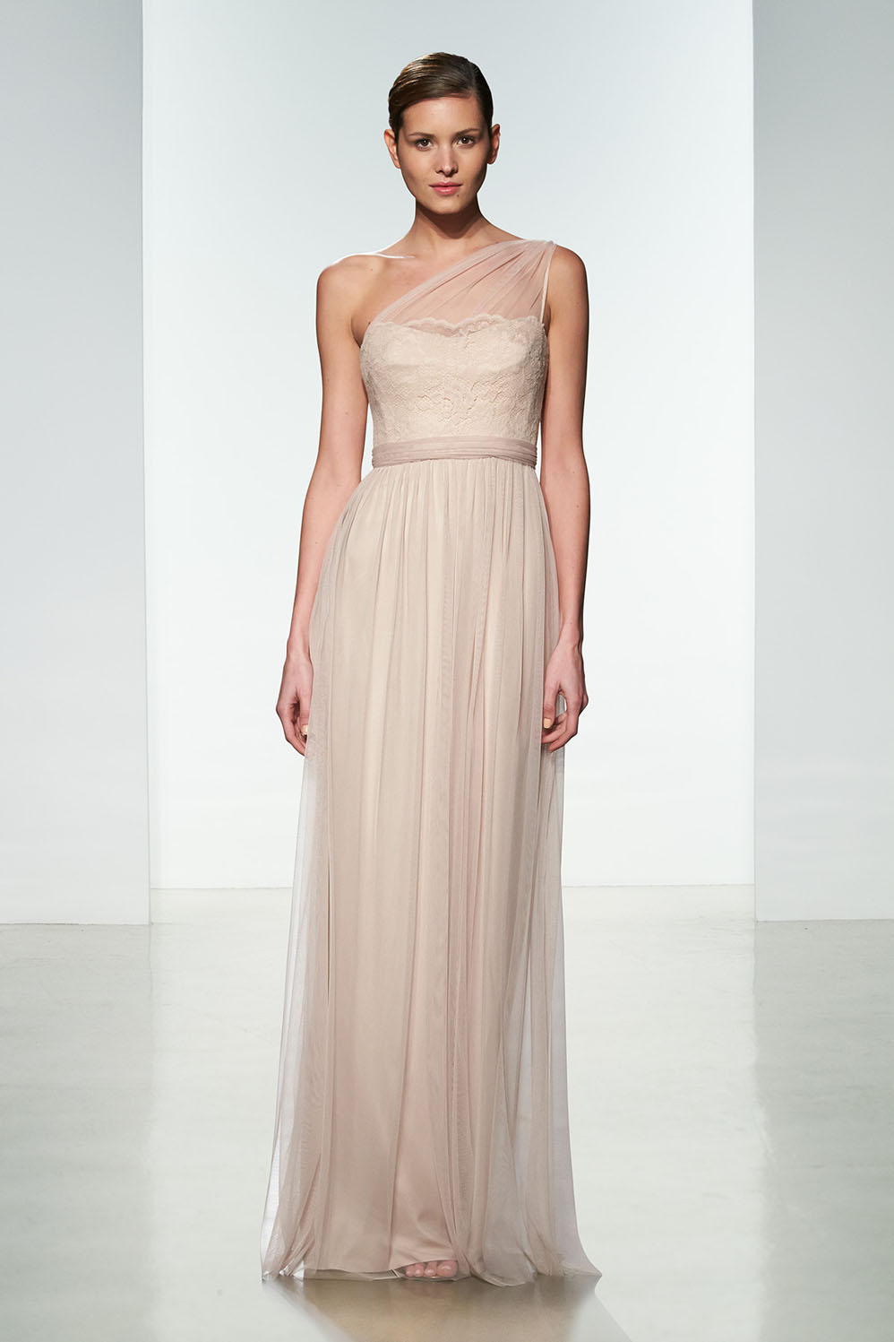 One Shoulder Lace Bodice Blush Tulle Long Bridesmaid Dress with Ribbon