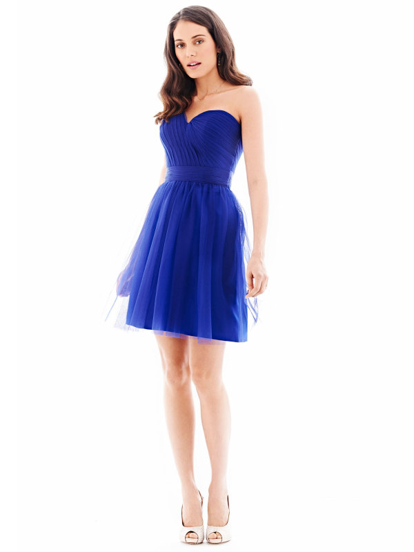 One Shoulder Pleated Short Tulle Bridesmaid Dress