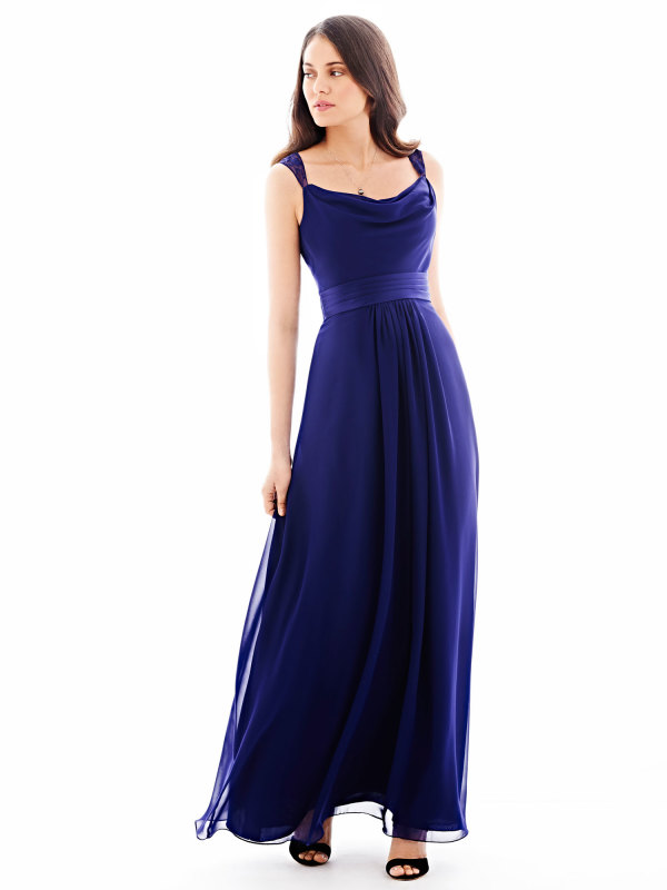 Lace Straps Cowl Neck Full Back A-line Blue Chiffon Bridesmaid Dress