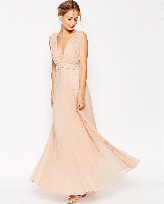 Peach V Neck Pleated Long chiffon Bridesmaid Dress with Ribbon