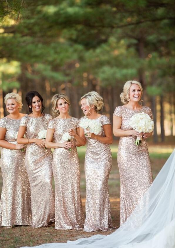Gold Sequin Beaded Cap Sleeve Long Sheath Sparkling Bridesmaid Dress _1