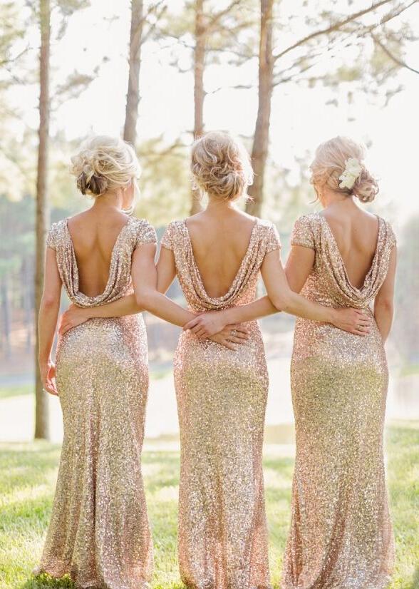 Gold Sequin Beaded Cap Sleeve Long Sheath Sparkling Bridesmaid Dress _2