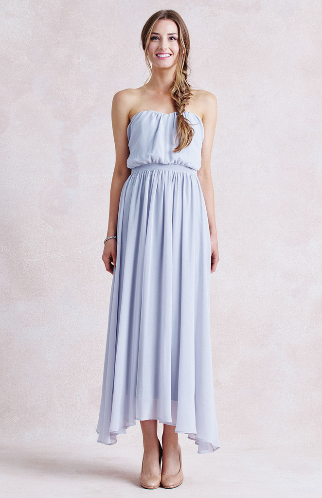 Beautiful Strapless Ruched High Low Chiffon Bridesmaid Dress