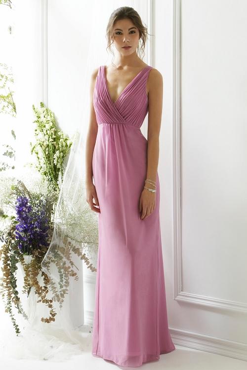 Chic V Neck Sheath Pleated Long Chiffon Bridesmaid Dress _1