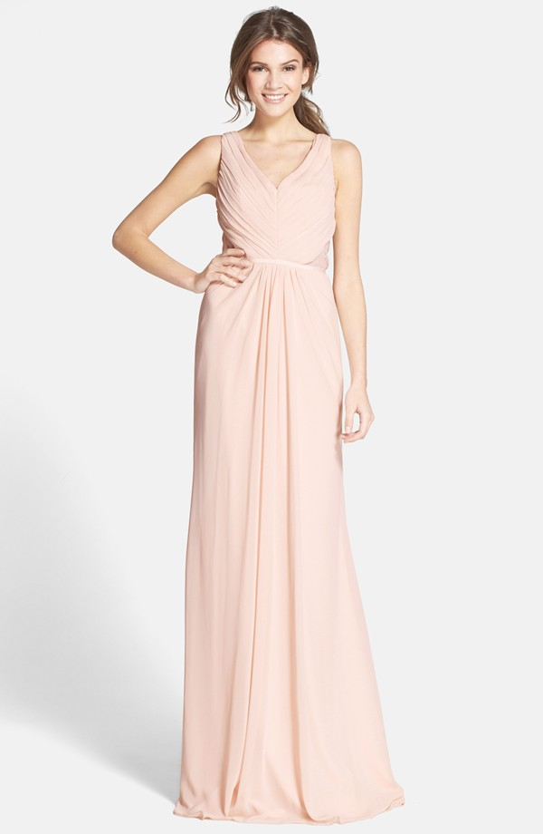 Vintage Pearl Pink Chiffon Long Column Bridesamid Dress with Lace Detail