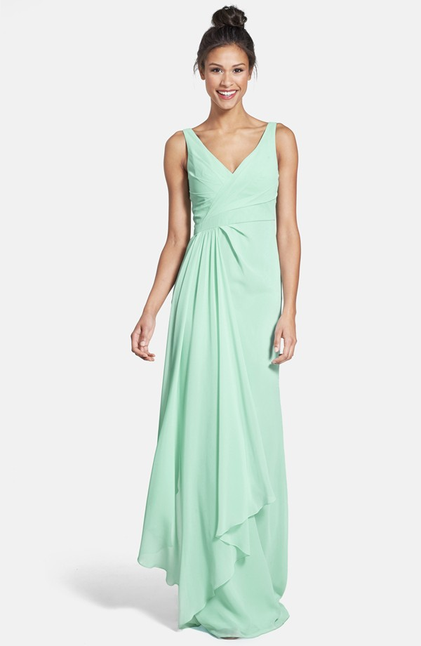 Shoulder Straps V Neck Cascaded Mint Long Chiffon Bridesmaid Dress