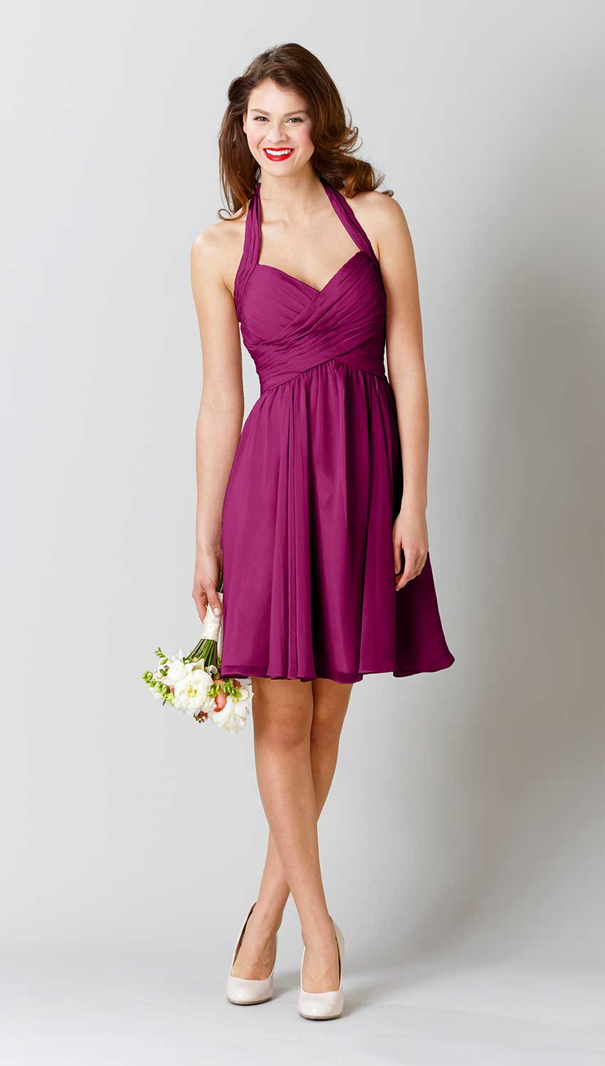 Hot Sale Pleated Knee Length Chiffon Bridesmaid Dress