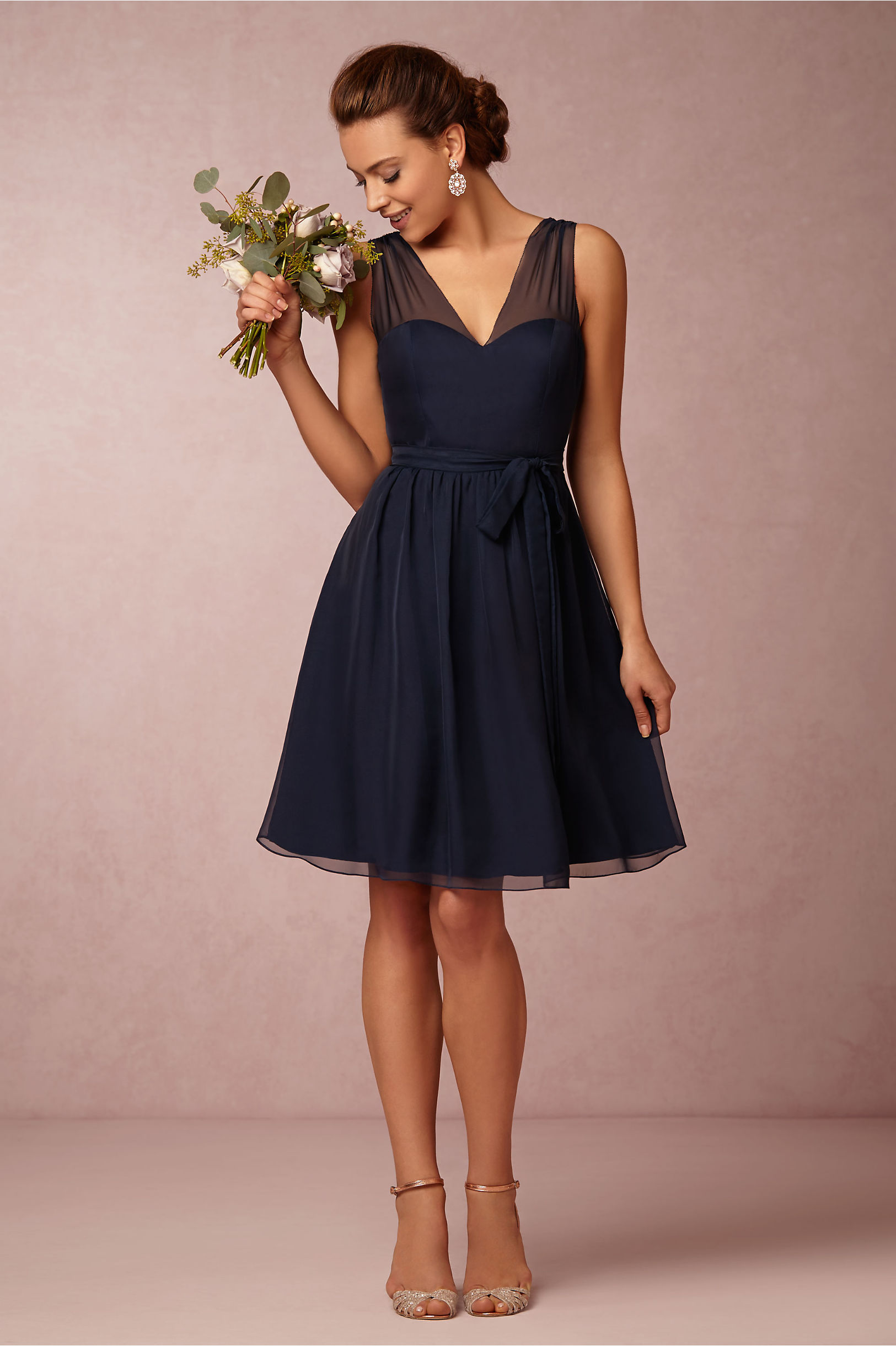 Sleeveless V Neck Knee Length Navy Chiffon Bridesmaid Dress