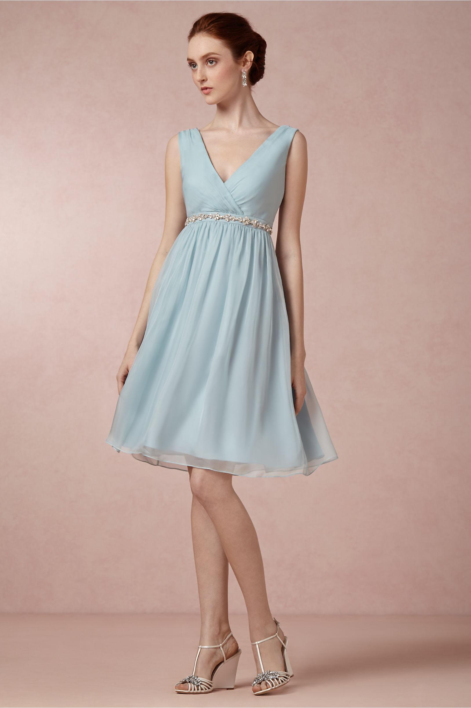 Vintage Lace Detail Knee Length Chiffon Bridesmaid Dress