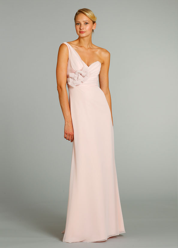 Sleeveless One Shoulder Blush Empire Chiffon Bridesmaid Dress with Flowers