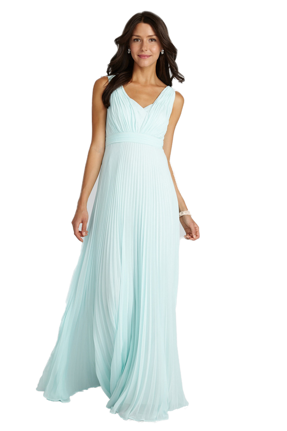 Whimscial Shoulder Straps Pleated A-line Light Blue Chiffon Bridesmaid Dress