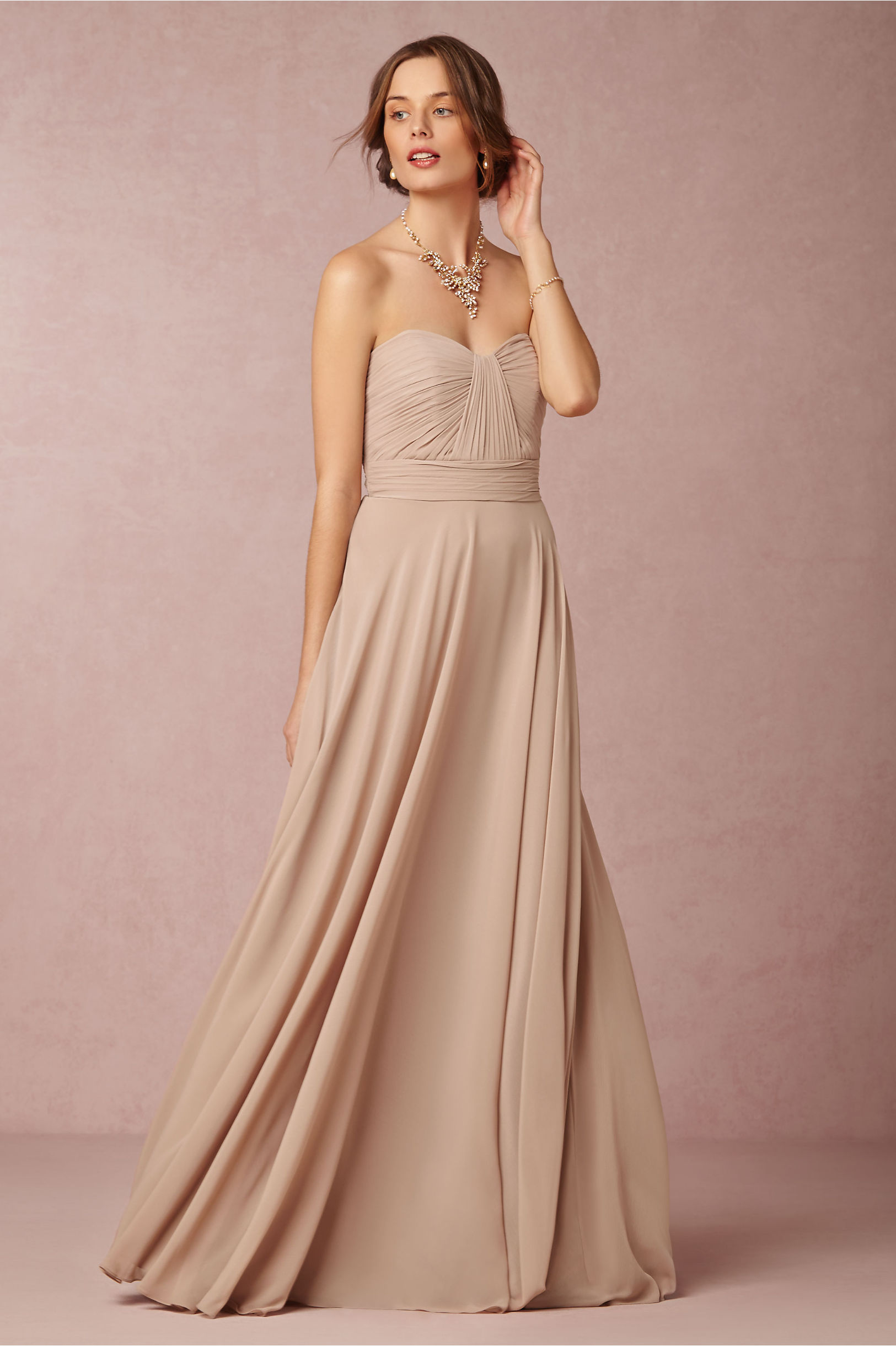 Simple Strapless Sweetheart Ruched Bodice Long Chiffon