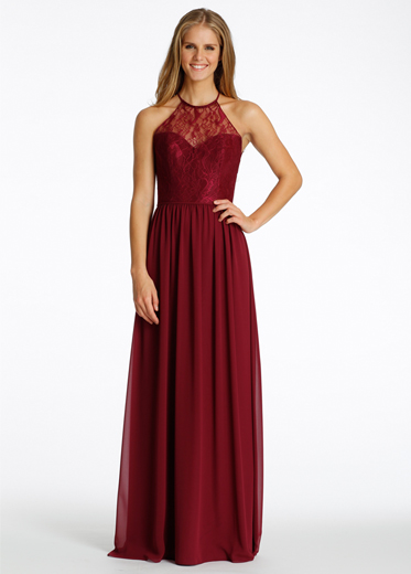Burgundy Halter Neck Lace Bodice Long Chiffon Bridesmaid Dress