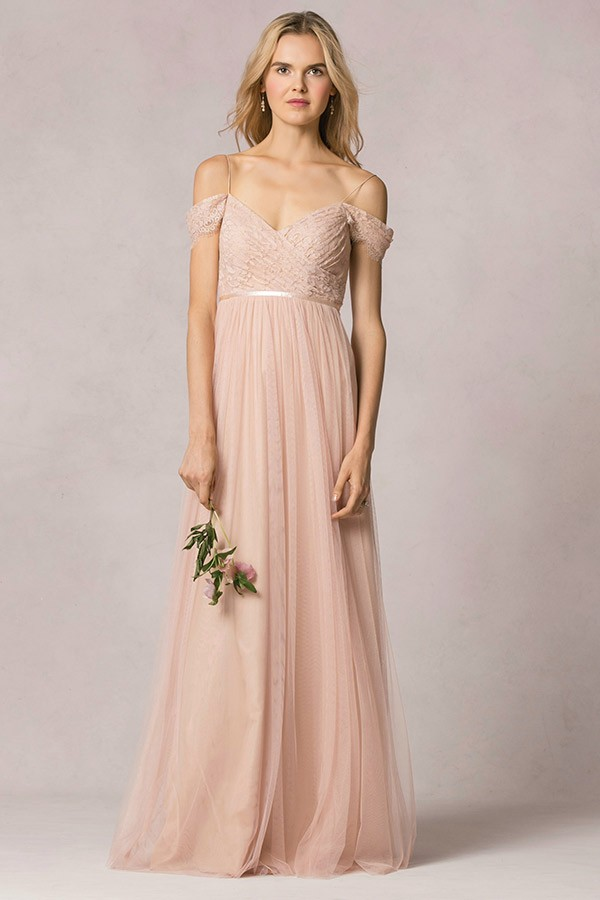 Off The Shoulder Blush Lace Bodice Tulle Bridesmaid Dress