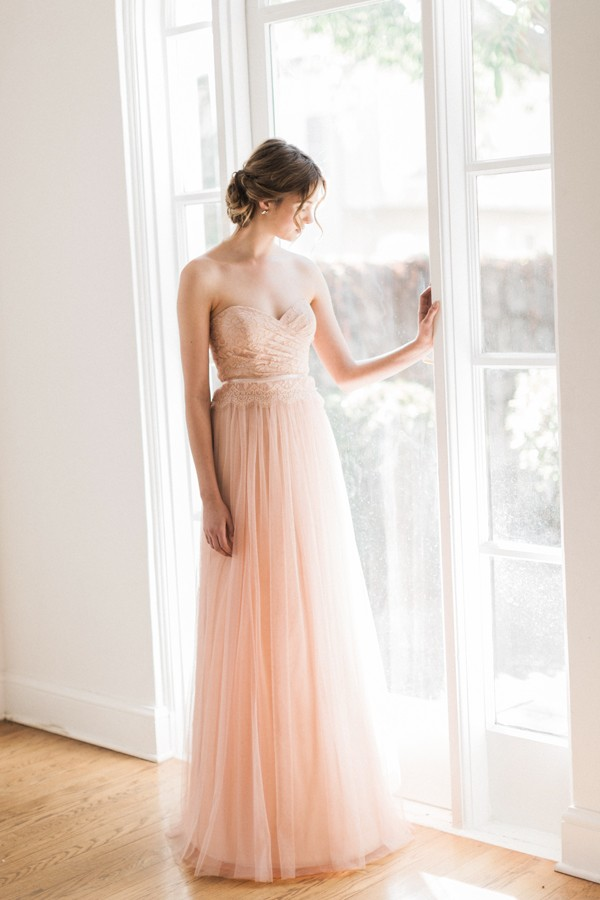 Strapless Sweetheart Pleated Lace Top Blush Tulle Bridesmaid Dress with Ribbon _2