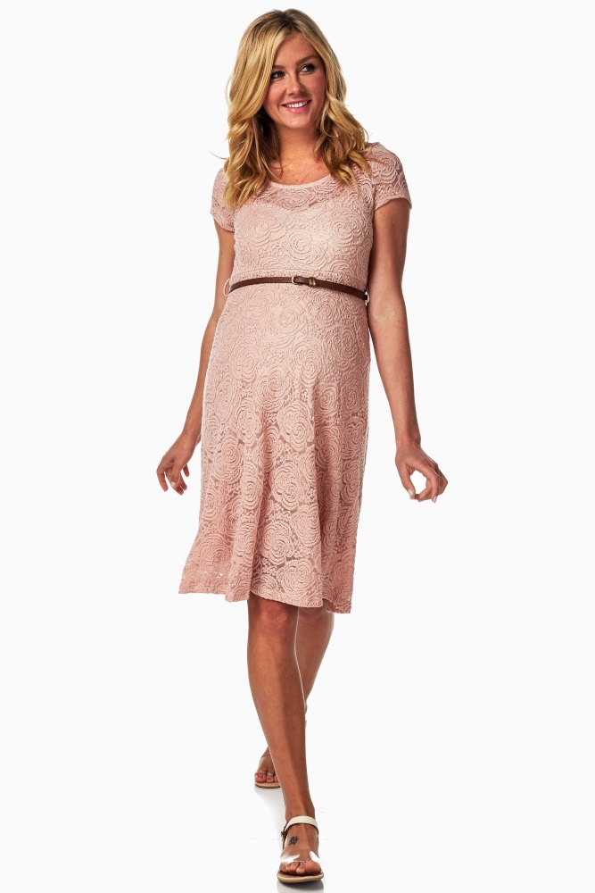 Short Sleeve Lace Knee-length Short Maternity Dresses with Belt