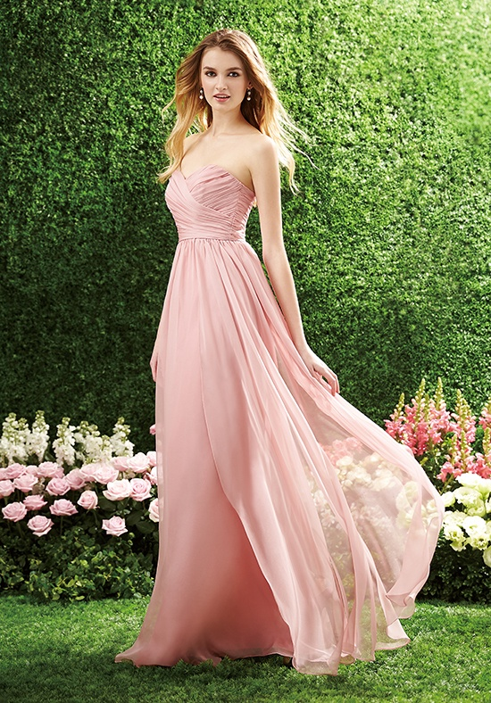 Classical Strapless Sweetheart Pleated A-line Pearl Pink Chiffon Bridesmaid Dress