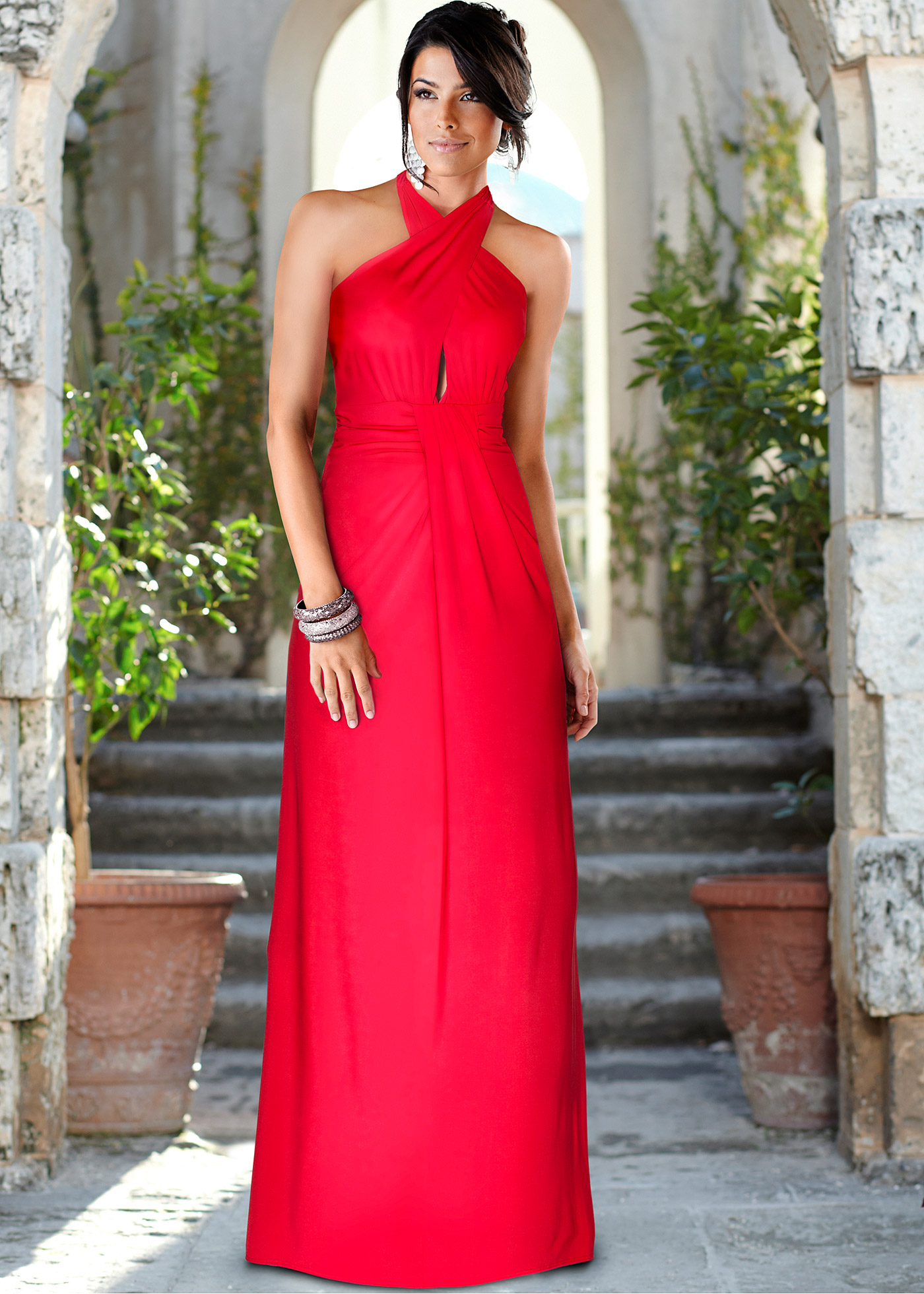 Halter Neck Columnchiffon Long Formal Wedding Guest Dress