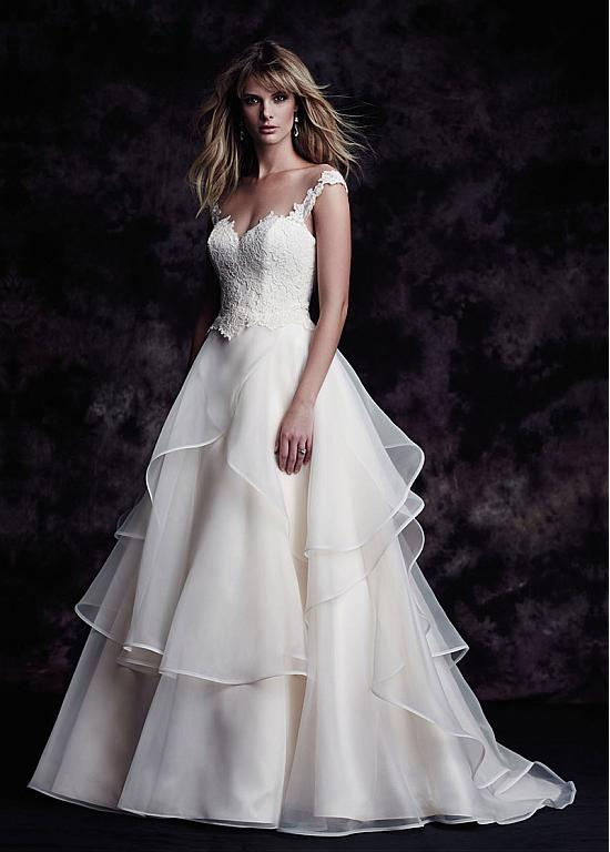 Lace Straps A-line Ruffled Organza Wedding Dress