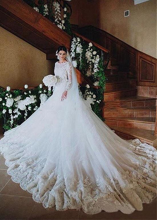 Floral Lace Long Sleeve A-line Wedding Dress with Long Sleeves