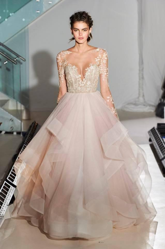 Long Sleeved Illusion V Neck Ball Gown Cascaded Long Wedding Dress
