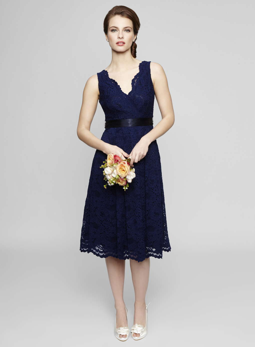 Sleeveless V Neck Tea Length Lace Bridesmaid Dress