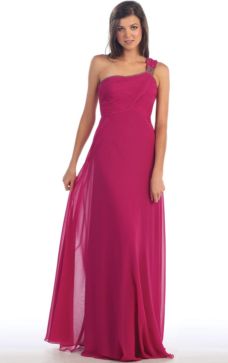 One Shoulder Chiffon Empire Floor-length A-line Bridesmaid Dresses