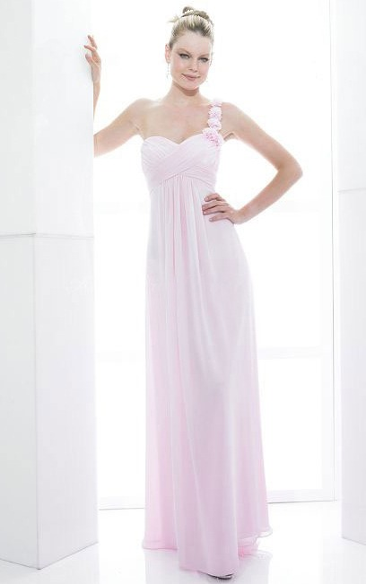 Floor-length One Shoulder Sleeveless Zipper Sheath Bridesmaid Dresses