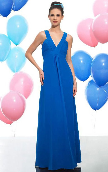 Sleeveless Zipper Empire A-line V-neck Bridesmaid Dresses