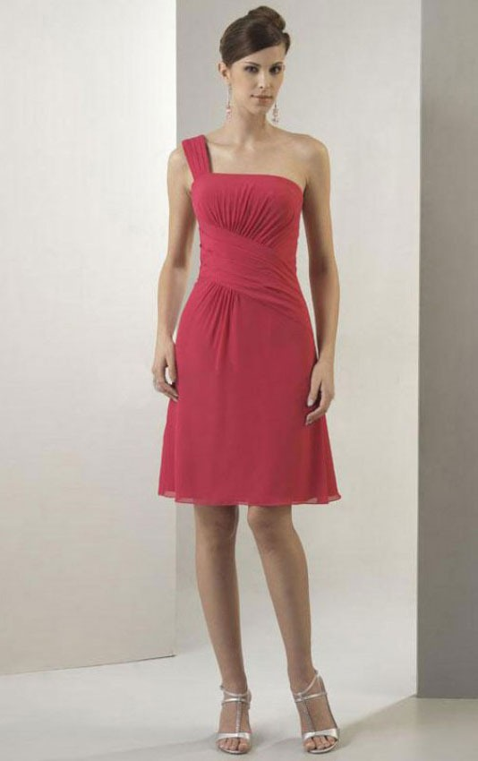 Knee-length Natural Chiffon A-line Lace-up Bridesmaid Dresses