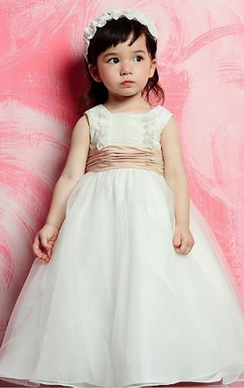 Ball Gown Sleeveless Satin Square Natural Flower Girl Dresses