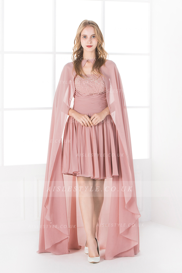 Sparkly Beading Ball Gown Short Chiffon Cocktail Dress with Long Cape