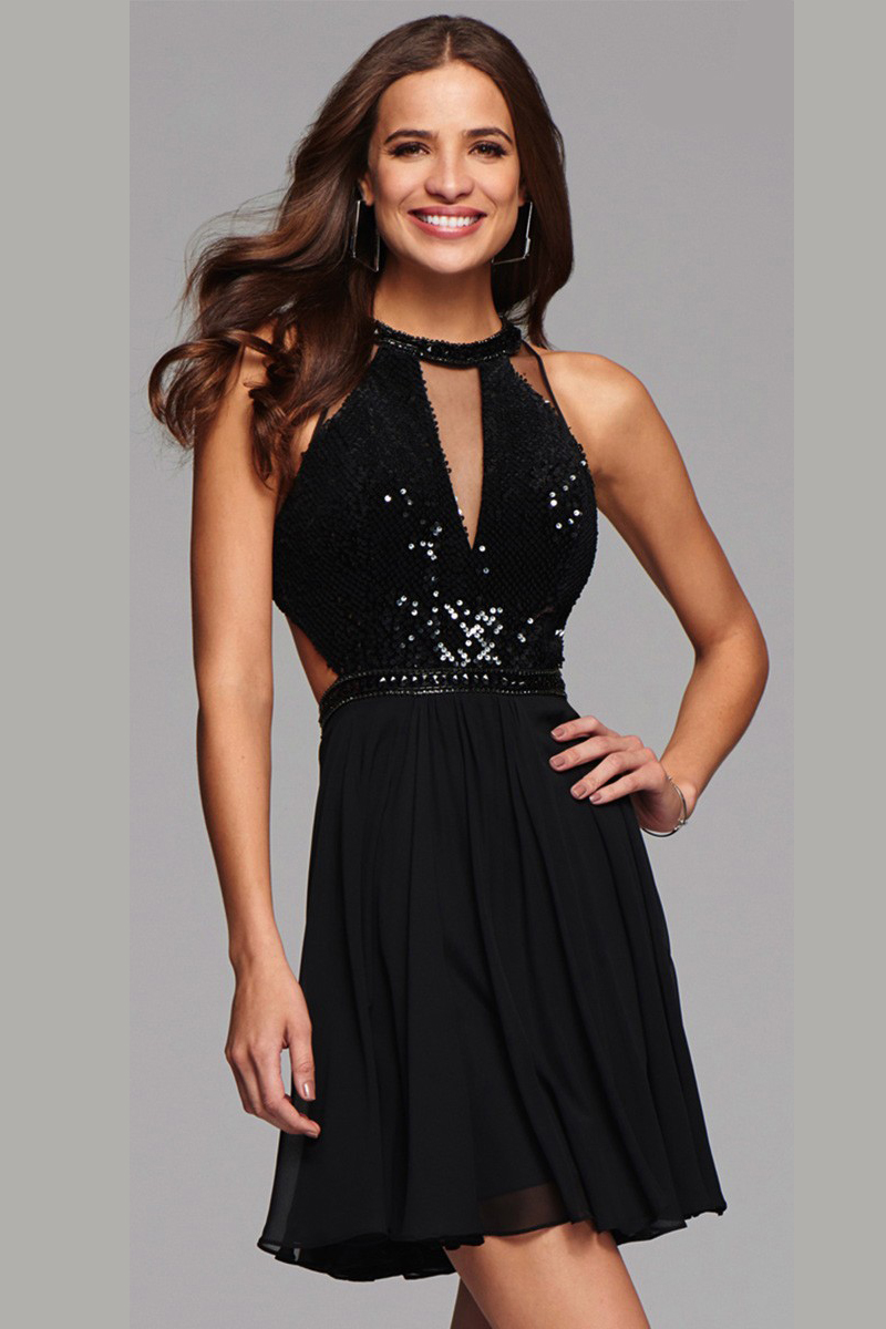 Sleeveless Halter Neck Sequin Knee Length Black Chiffon Cocktail Dress