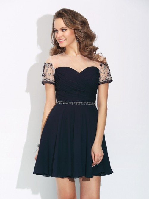 Illusion Neck Short Sleeve Knee Length Chiffon Cocktail Dress