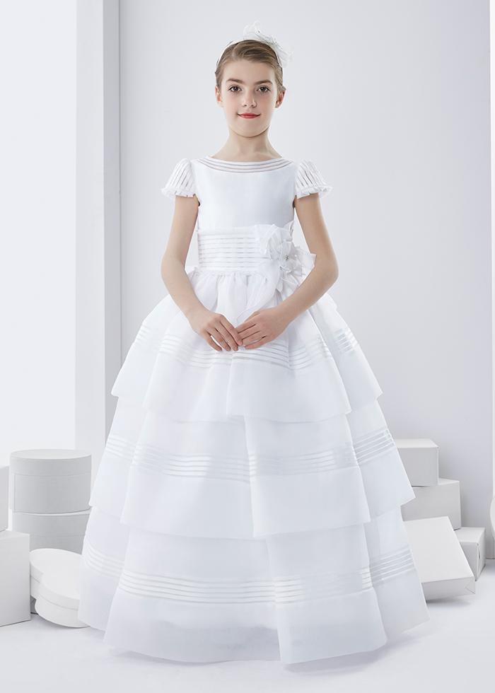 Short Sleeve Ball Gown Short Sleeve Long First Communion Dress with Bow