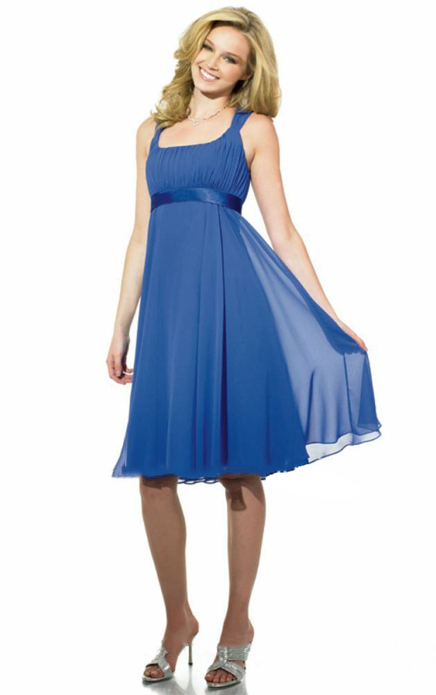 A-line Sleeveless Chiffon Square Zipper Bridesmaid Dresses